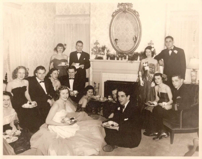 Large group photo: Taken at the home of Dr. John Hill TIlley, includes Marian TIlley, Joyce Bobo, Dick Hunt, Mildred Bouton Gaston, Mary Ellen Coverdell, Tish Hicks Eskew, Jimmy Hicks, Jamie Dean Bradshaw, Robinson Sandifer, and Alan Ross McClain.the home of Dr. John Hill TIlley, includes
