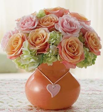 Flower peach and pink arrangement picture